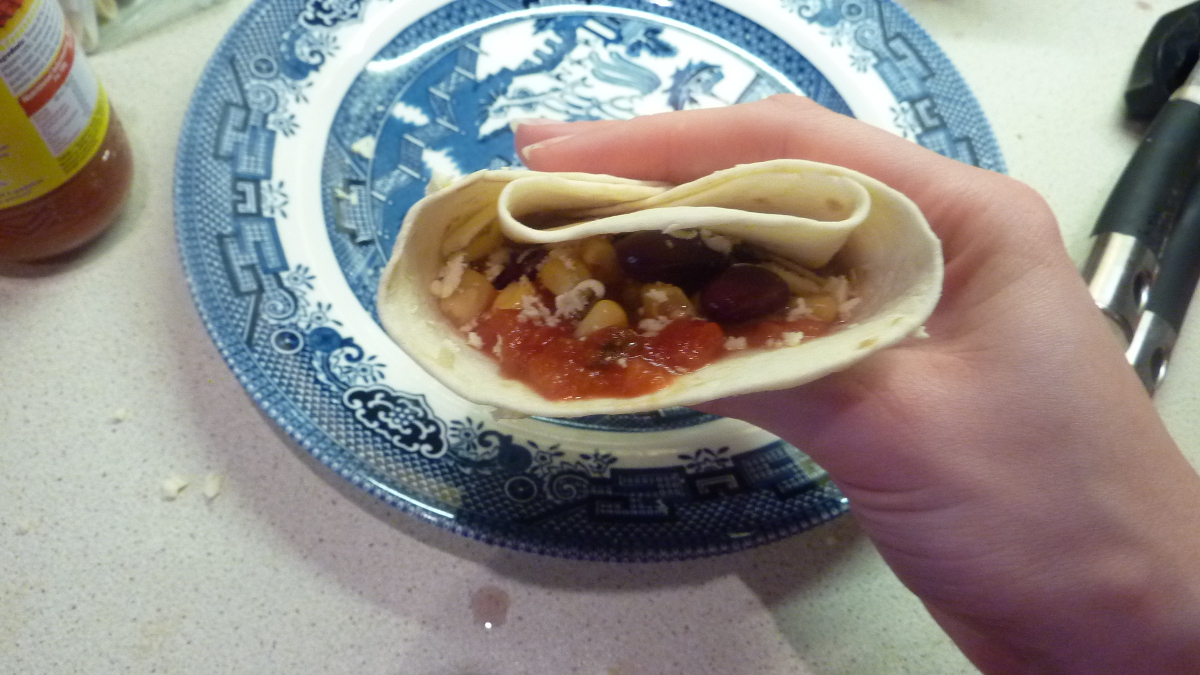 finished mexican bean wrap