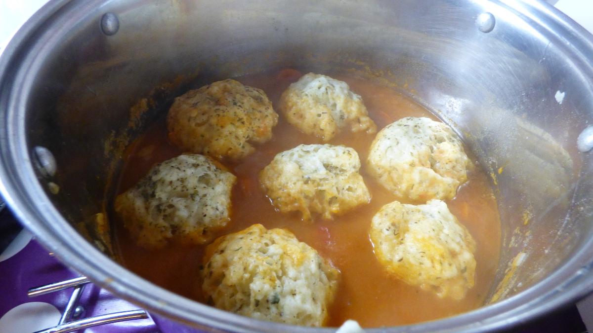 Herby Dumplings Cooking