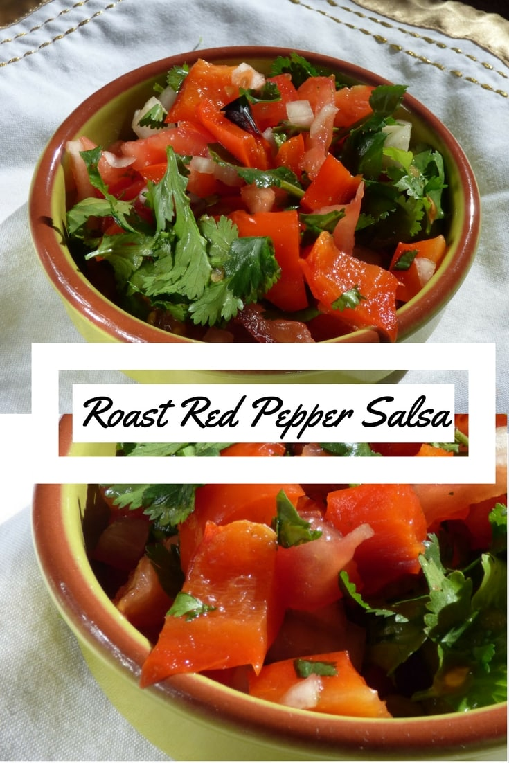 Image showing bowl of roast red pepper salsa, and close up detail, from busylizziecooks.com