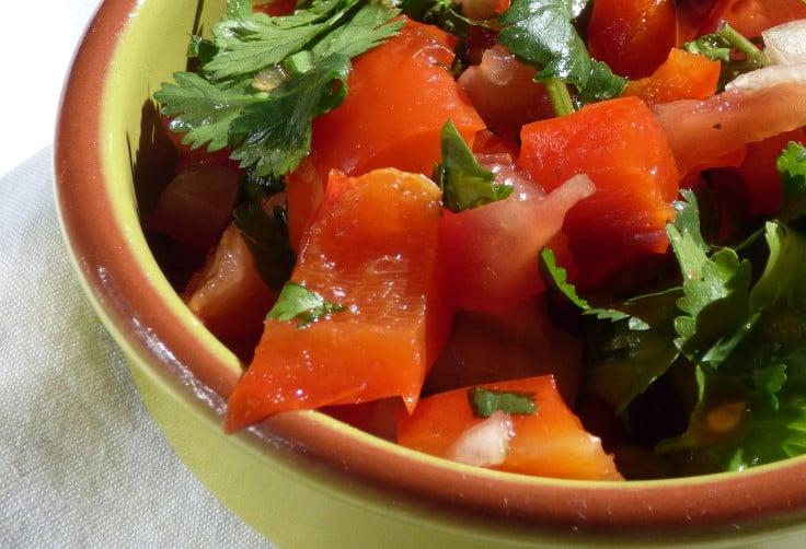 A bowl of roast red pepper salsa, from busylizziecooks.com