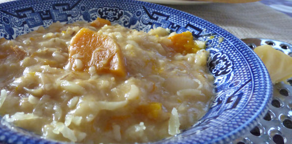 Pearl barley stew with cheese