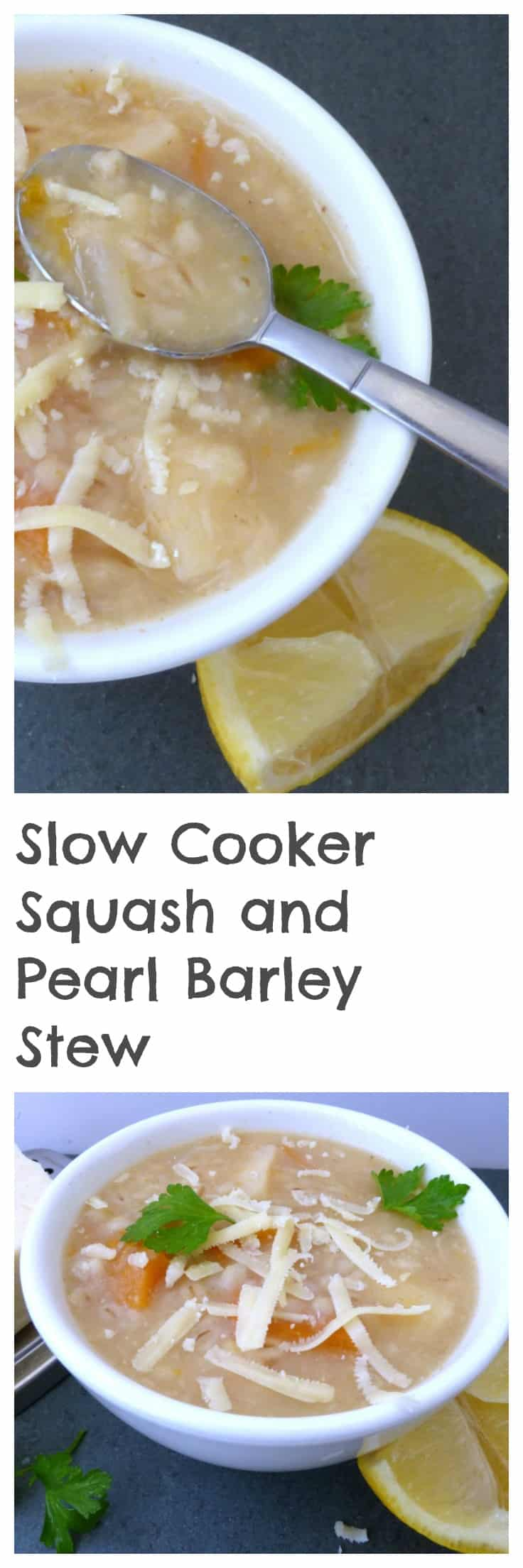 Slow cooker butternut squash and pearl barley stew