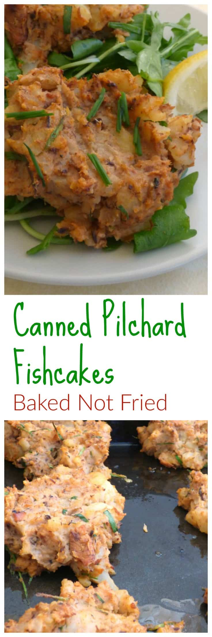 Canned Pilchard Fishcakes - Baked Not Fried Collage showing baking tray and plated fishcakes with salad and lemon wedges