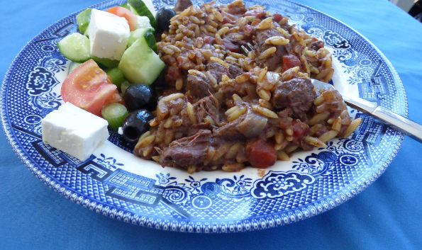 slow cooker venison giouvetsi with orzo close up
