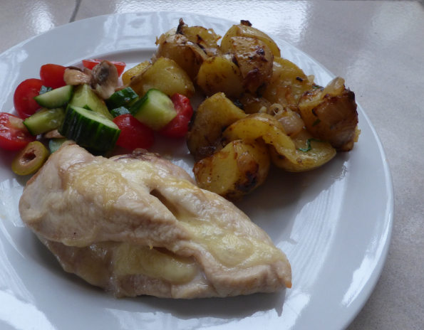 cheese stuffed chicken with tarragon fried potatoes