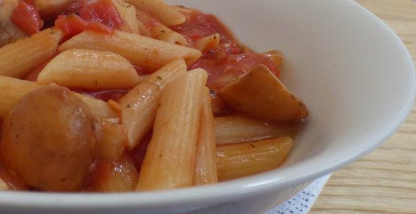 microwave pasta sauce - mushroom and salami close up