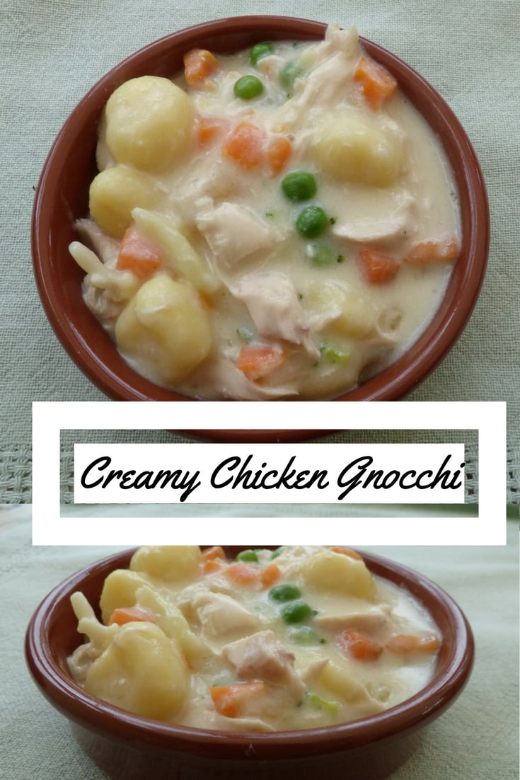Two images of a dish of creamy chicken gnocchi with a heading from busylizziecooks.com