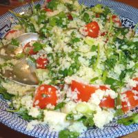 tabbouleh served with marinated lamb