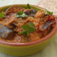 Dish of slow cooked aubergine and lentil curry with chapati