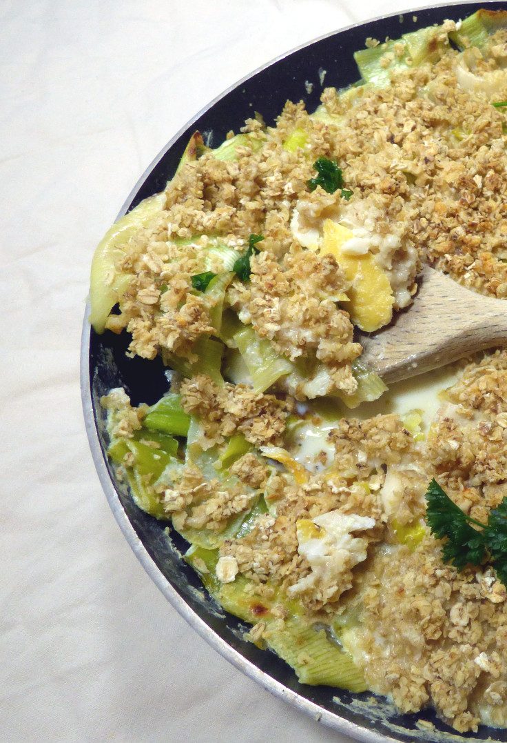 Serving a frying pan fish crumble, an easy smoked haddock pie alternative. From grubdujour.com