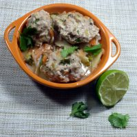 Pork meatball stirfry with lime, cilantro and sticky coconut vegetables, from busylizziecooks.com