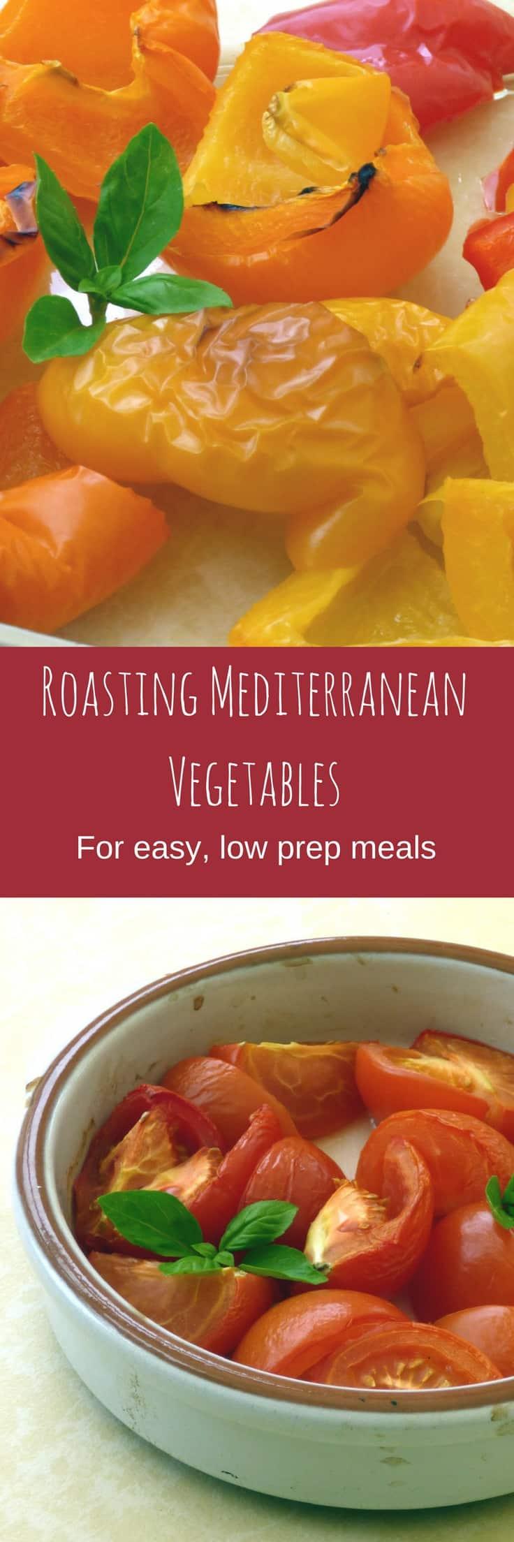 Collage of roasted mediterranean vegetables